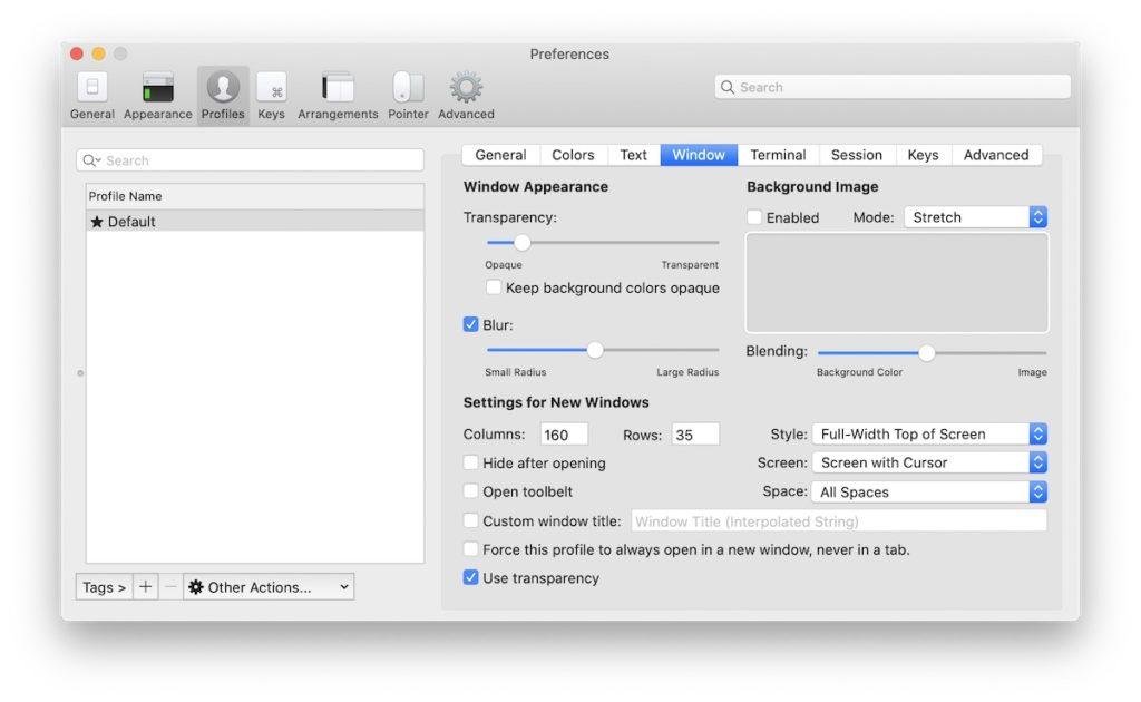 Configure Window iTetm2