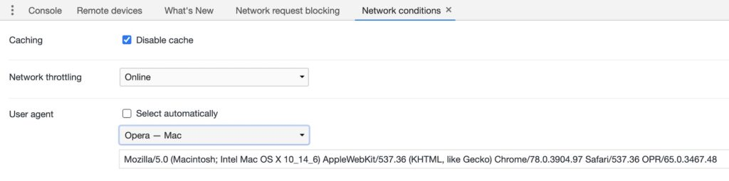 Network Conditions User Agent