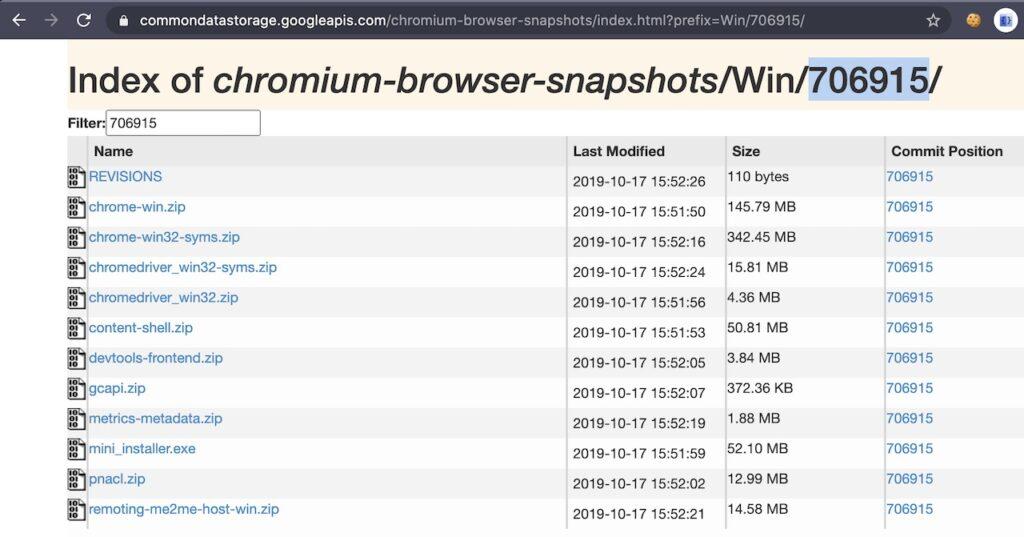 Chromium Browser Snapshots